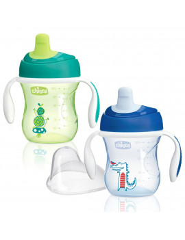 Chicco 7 Ounce Semi Soft Spout Trainer Sippy Cup w/ Handles, Blue/Green (2 Pack)