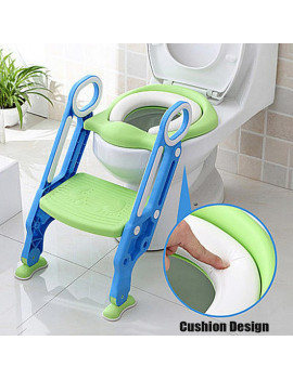 Adjustable Kids Baby Toddler Training Potty Trainer Toilet Seat Safety Seat Chair Toddler With Ladder Step Up Stool Non-slip Folding Seat With Floor Pads for Boys and Girls