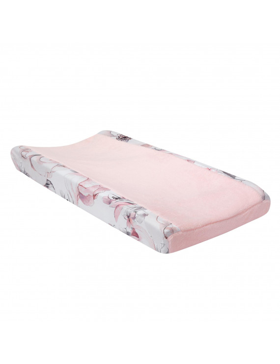 Lambs & Ivy Signature Botanical Baby Pink/Gray Floral Minky Changing Pad Cover