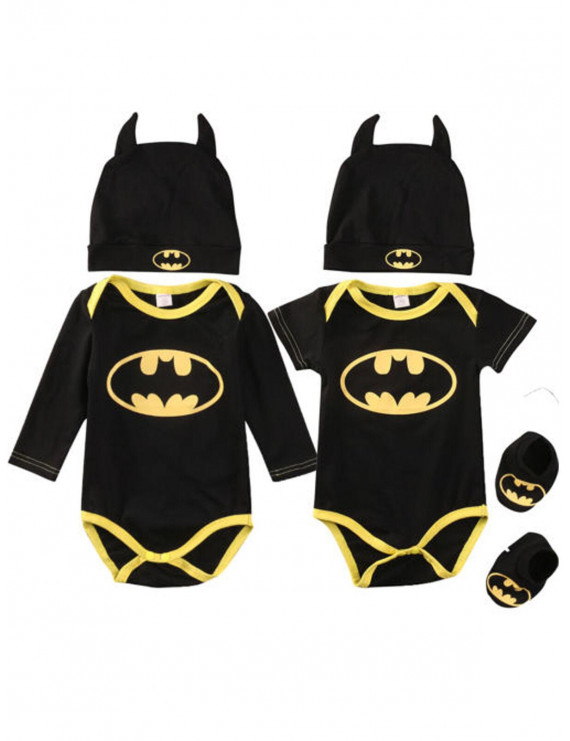 New Newborn Infant Baby Boy Batman Cotton Romper Shoes Hat Clothes Outfit Set