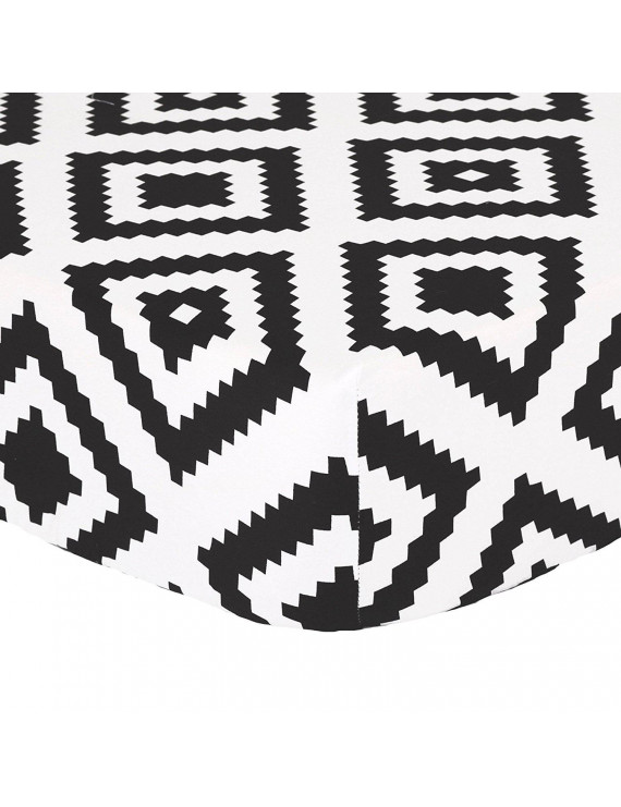 Black Diamond Tile Print 100% Cotton Fitted Crib Sheet by By The Peanut Shell Ship from US