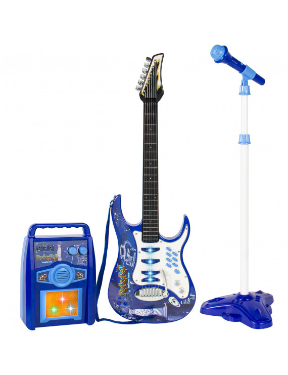 Best Choice Products Kids Electric Musical Guitar Play Set w/ Microphone, Aux Cord, Amp - Blue