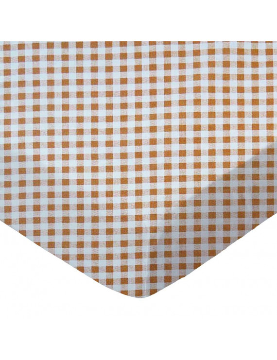 SheetWorld Fitted 100% Cotton Percale Pack N Play Sheet Fits Graco 27 x 39, Beige Gingham Check