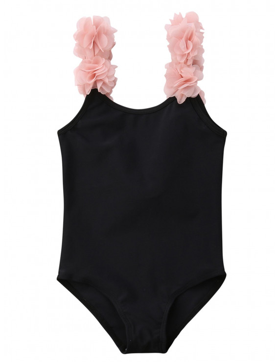 Styles I Love Toddler Kid Girls 3D Flower Straps Backless One-Piece Solid Color Swimsuit Beach Bathing Swimwear, 2 Colors (Balck, 28/2T)