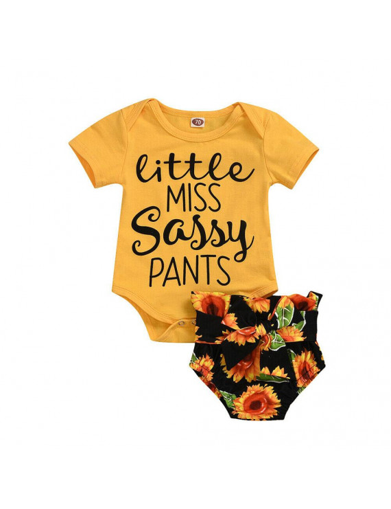 Cathery Infant Baby Girl Summer Sassy T-shirt Tops Sunflower PP Shorts Outfit Clothes