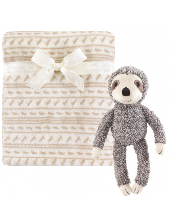 Hudson Baby Boy and Girl Plush Blanket with Plush Toy Set, Sloth
