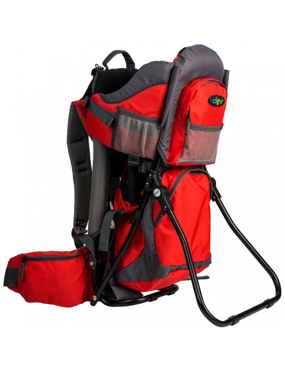 Clevr Outdoor Hiking Light Baby Backpack Carrier for Toddlers, Red