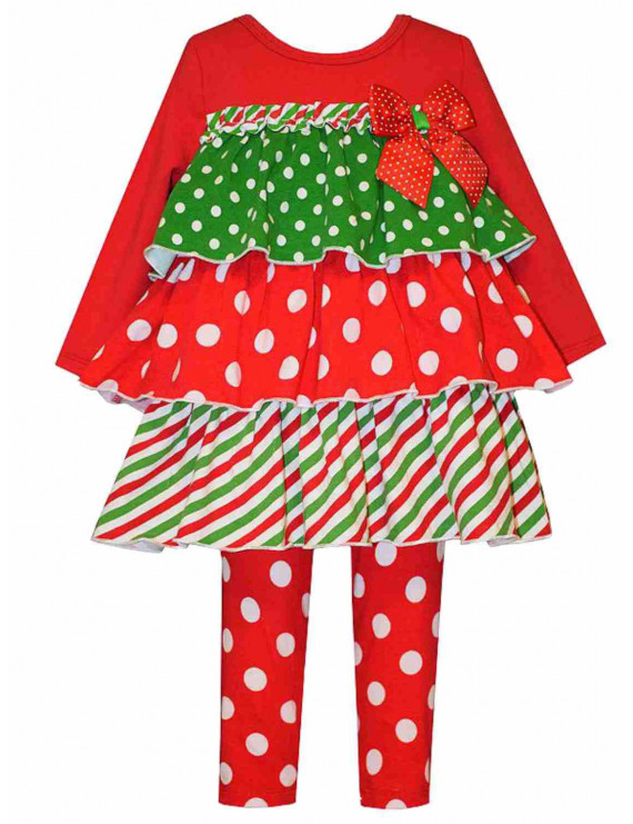 Bonnie Baby Infant Girls 2 PC Red Ruffled Holiday Outfit Shirt Dot Leggings