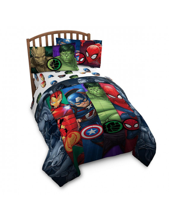 Avengers Infinity War Twin Comforter and 3 Piece Sheet Set Bedding Set