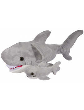 Adorable Mother and Baby Shark 16 Inch Long Super Soft Plush Toy