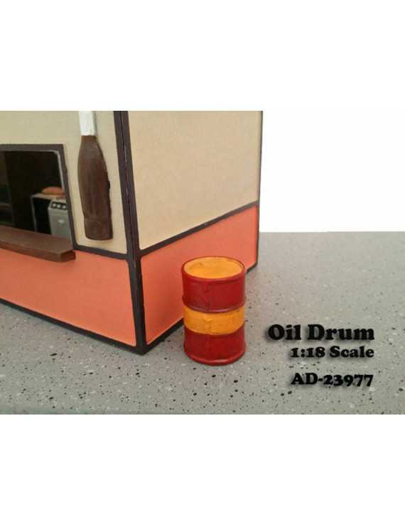 Oil Drum Figure, Red with Yellow - American Diorama Figurine 23977 - 1/18 scale
