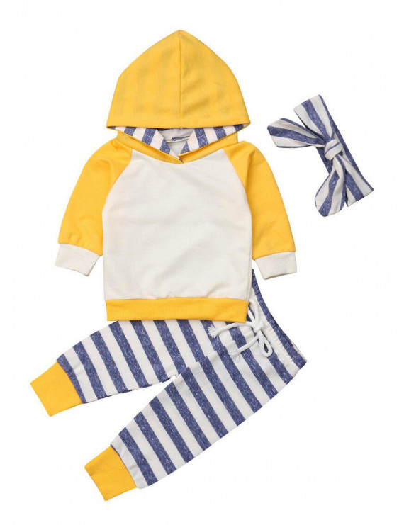 Multitrust 3PCS Newborn Baby Girls Boys Hoodies Tops+Striped Outfits Toddler Clothes Autumn