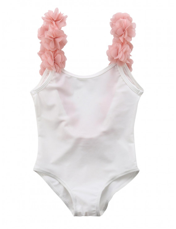 Styles I Love Toddler Kid Girls 3D Flower Straps Backless One-Piece Solid Color Swimsuit Beach Bathing Swimwear, 2 Colors (White, 34/5)