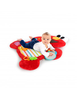 Bright Starts Sesame Street Tummy Time Prop & Play Activity Mat - Elmo, Ages 0-12 months