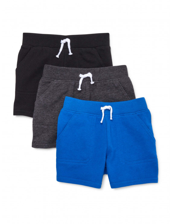 Garanimals Baby Boys Solid French Terry Shorts Multi-Pack, 3-Piece