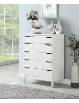 Angel Line Lauren 5 Drawer Chest, White