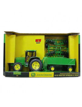 John Deere Toy Tractor Set 6410 Tractor Barge Wagon & Wing Disk 1:32 Scale