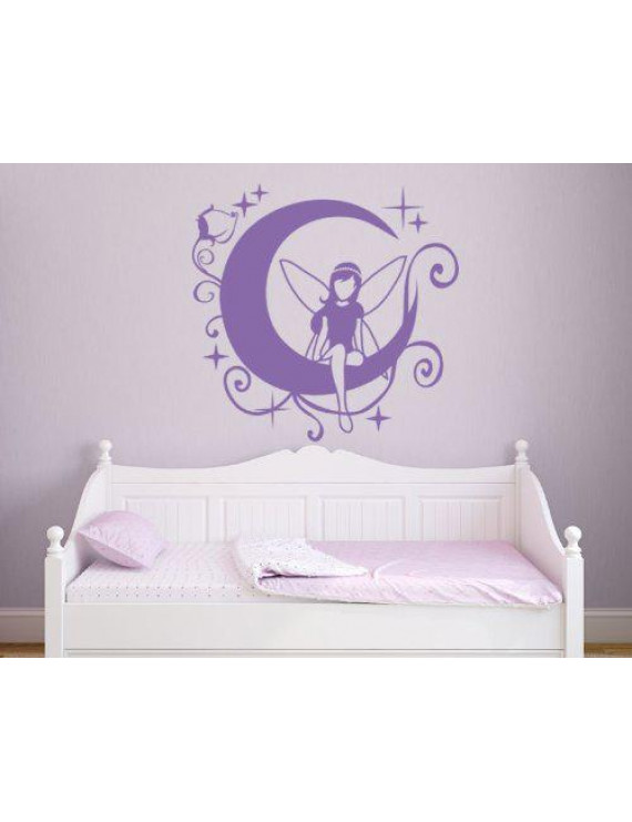 Moon Fairy II Wall Decal - Kids Wall Decal, Removable Sticker, Vinyl Wall Art For Girls, Nursery Decor - 4397-0 - Orange, 39in x 39in