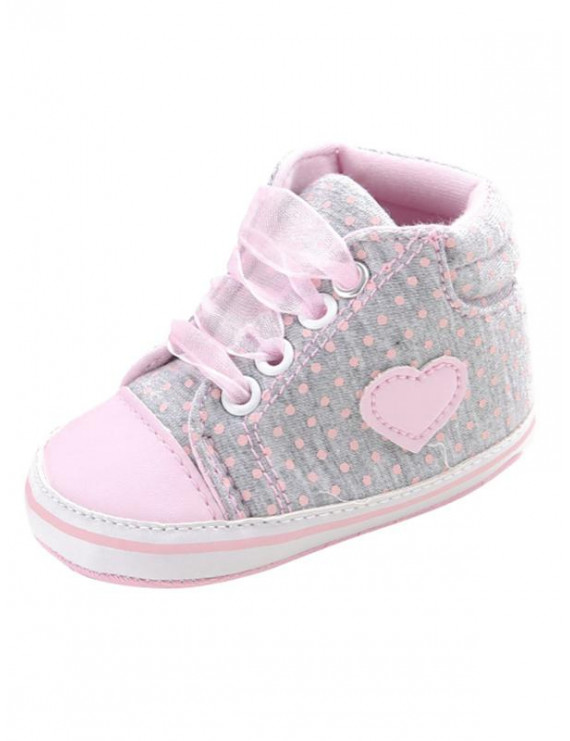 Baby Girl Boy Cute Heart Print Soft Sole Lace-up Shoes Outdoor Sneaker