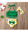 Styles I Love Infant Baby Girls Pineapple Fringe Bikini Swimsuit with Headband Bathing Suit Beach Pool Water Game Swimwear 3pcs Set (90/12-18 Months)