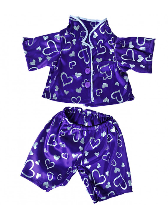 "Dark Purple Silver Heart Pj's Teddy Bear Clothes Fits Most 14"" - 18"" Build-A-Bear, and Make Your Own Stuffed Animals"