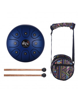 5.5 Inch Mini 8-Tone Steel Tongue Drum C Key Percussion Instrument Hand Pan Drum with Drum Mallets Carry Bag
