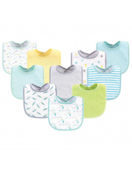 Luvable Friends Baby Boy and Girl Drooler Bibs, 10 Pack, Neutral Elephant/Stars
