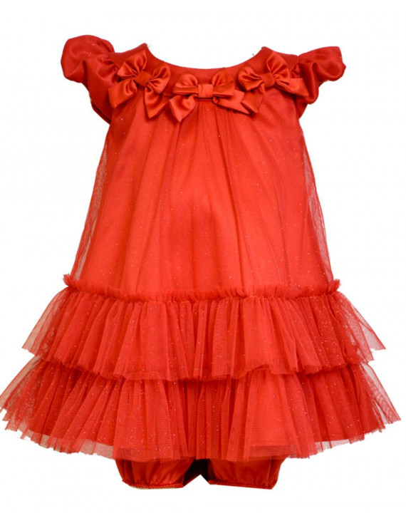 Bonnie Jean Baby Girls Red Mesh Bow Dress 3-6 months