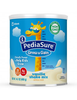 PediaSure Grow & Gain Non-GMO & Gluten-Free Shake Mix Powder, Nutritional Shake For Kids, With Protein, Probiotics, DHA, Antioxidants*, and Vitamins & Minerals, Vanilla, 14.1 oz