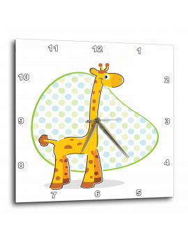 3dRose A Cute Kids Giraffe Illustraion, Wall Clock, 15 by 15-inch