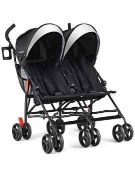 Baby Joy Foldable Twin Baby Double Stroller, Black