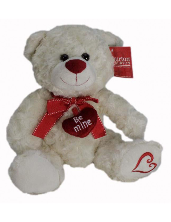 "10"" Plush White Be Mine Teddy Bear with Heart on Foot"