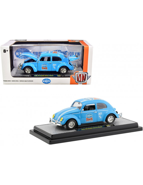 """1952 Volkswagen Beetle Deluxe Model """"EMPI"""" Light Blue with White Stripes Limited Edition to 6880 pcs Worldwide 1/24 Diecast Model Car by M2 Machines"""