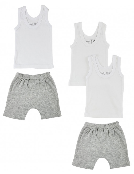 Bambini Mix N Match Tank Tops & Shorts, 5pc (Baby Boys or Baby Girls, Unisex)