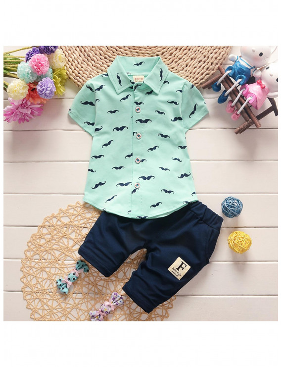 2-piece Fashionable Moustache Pattern Polo Collar Tee and Solid Shorts Set