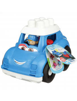 Mega Bloks First Builders Peter Police Car with Big Building Blocks, Building Toys for Toddlers (6 Pieces)