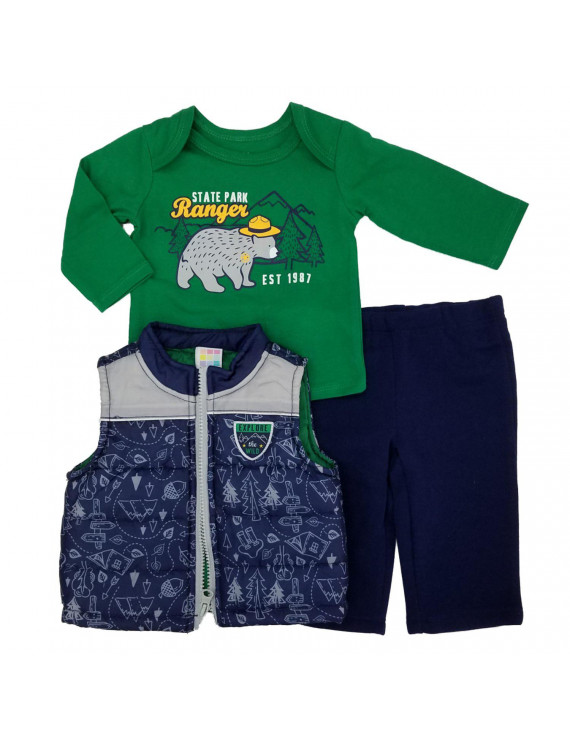 Infant Boys 3-Piece Explore The Wild Outfit Puffer Vest Bear Shirt & Pants Set