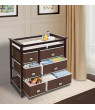 Badger Basket Modern Baby Changing Table with Six Baskets, Espresso, Includes Pad