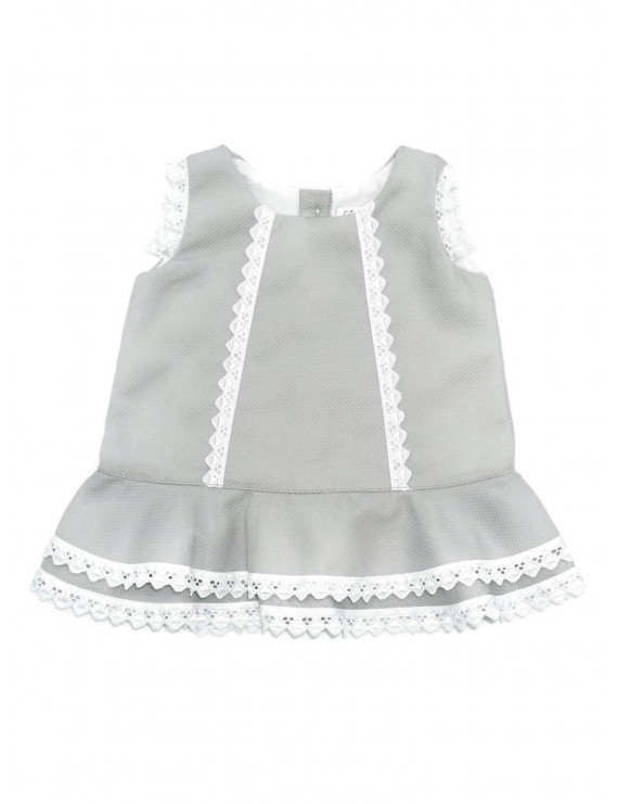 Coquelicot Baby Girls Gray Oporto Pique Embroidered Trim Camilla Dress