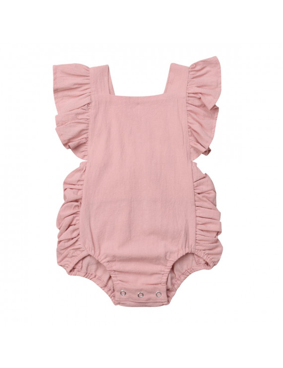 Newborn Baby Girl Bodysuit Romper Cotton Flared Backless One Piece Jumpsuit Newborn Girls Clothes