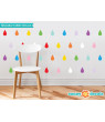 Raindrop Fabric Wall Decals - Set of 40 Raindrops Wall Pattern Decals - 20 Color Options-Grey/