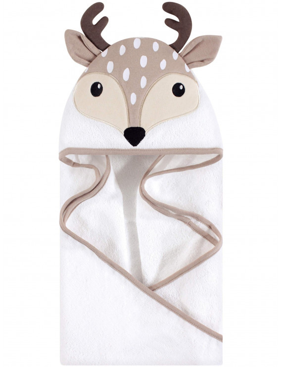 Hudson Baby Boy and Girl Woven Terry Animal Hooded Towel, Little Fawn