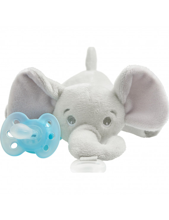 Philips Avent Ultra Soft Snuggle pacifier, 0-6m, Elephant, SCF348/03