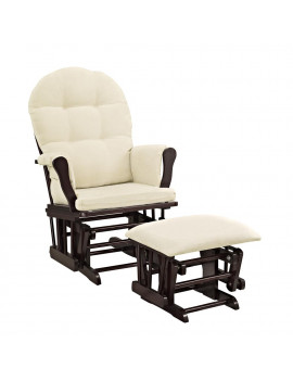 Angel Line Windsor Glider and Ottoman Espresso Finish and Beige Cushions