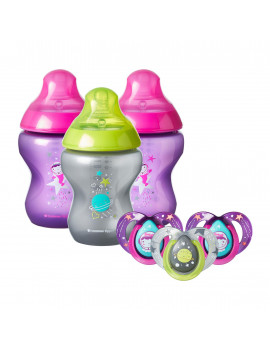Tommee Tippee Closer to Nature Boldly Go Gift Set, Girl, 6-Pack – 9-Ounce Baby Bottles & 6-18 month Pacifiers