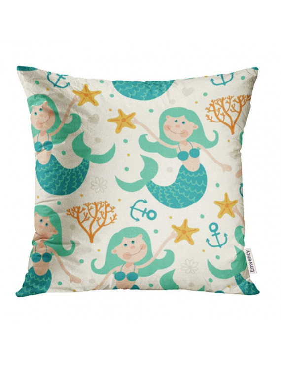 USART Adorable Mermaids Anchor Cartoon Characters Children Comic Coral Creatures Pillowcase Cushion Cover 18x18 inch
