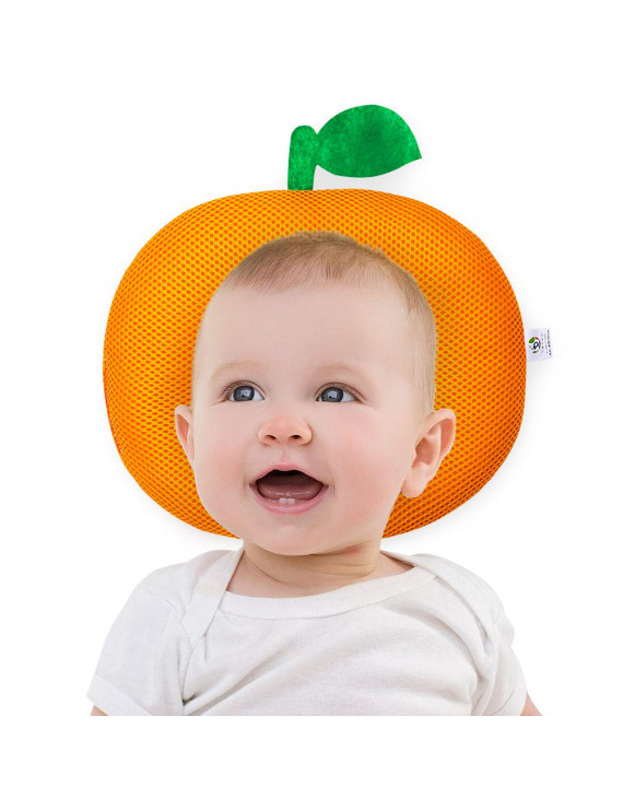 3D Baby Pillow for Newborn and Infant, Flat Head Prevention, Breathable and Anti-Allergy,2 months - 2 years old (Orange)