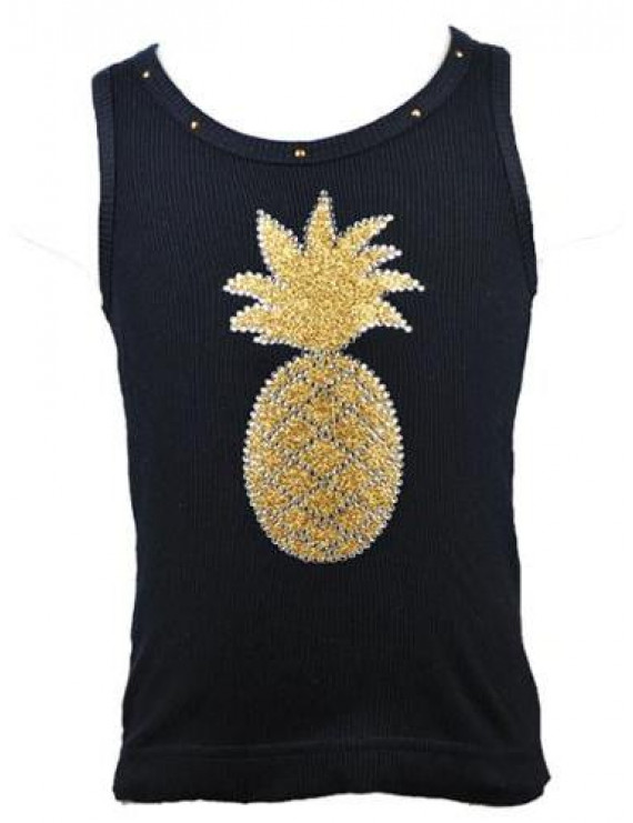 Baby Girls Black Gold Glitter Pineapple Studded Tank Top 12-18M