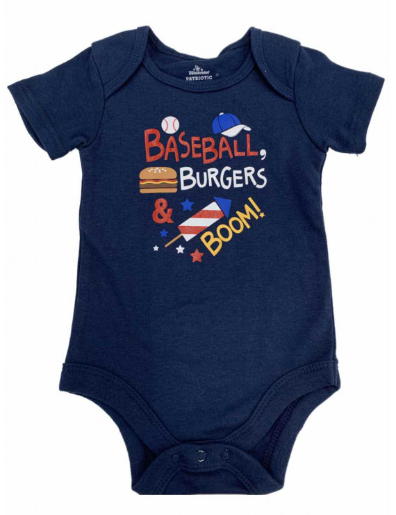 Infant Baby Boys Navy Blue Baseball Burgers & Boom Patriotic Bodysuit Outfit