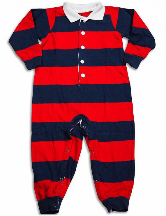 Saras Prints Baby Infant Toddler Boys One Piece Rugby Coverall Playsuit Pajama, 29826 Navy-Red Stripe / 3